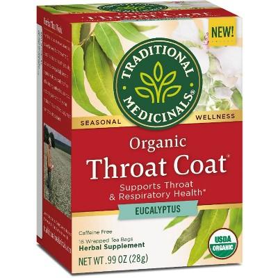 Traditional Medicinal Organic Throat Coat Eucalyptus Herbal Tea - 16ct