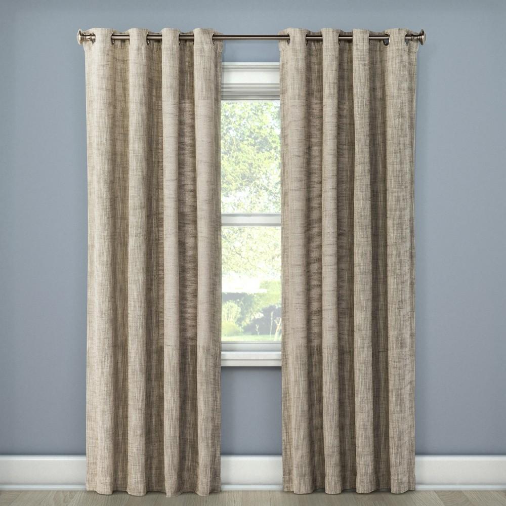 Textured Weave Window Curtain Panel Light Gray (54