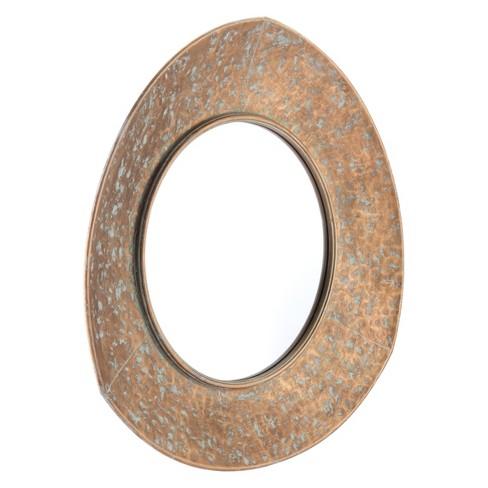 Zm Home 29 Distressed Round Mirror Gold