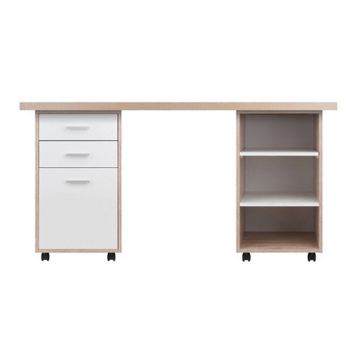 3pc Kenner Set Modular Desk With 2 Drawer & 3 Shelves Reclaimed Wood - Winsome