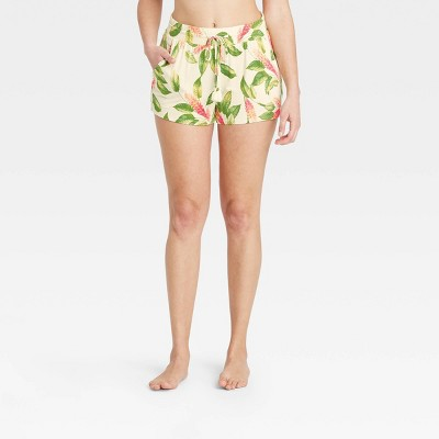 Women's Floral Print Beautifully Soft Pajama Shorts - Stars Above™ Cream