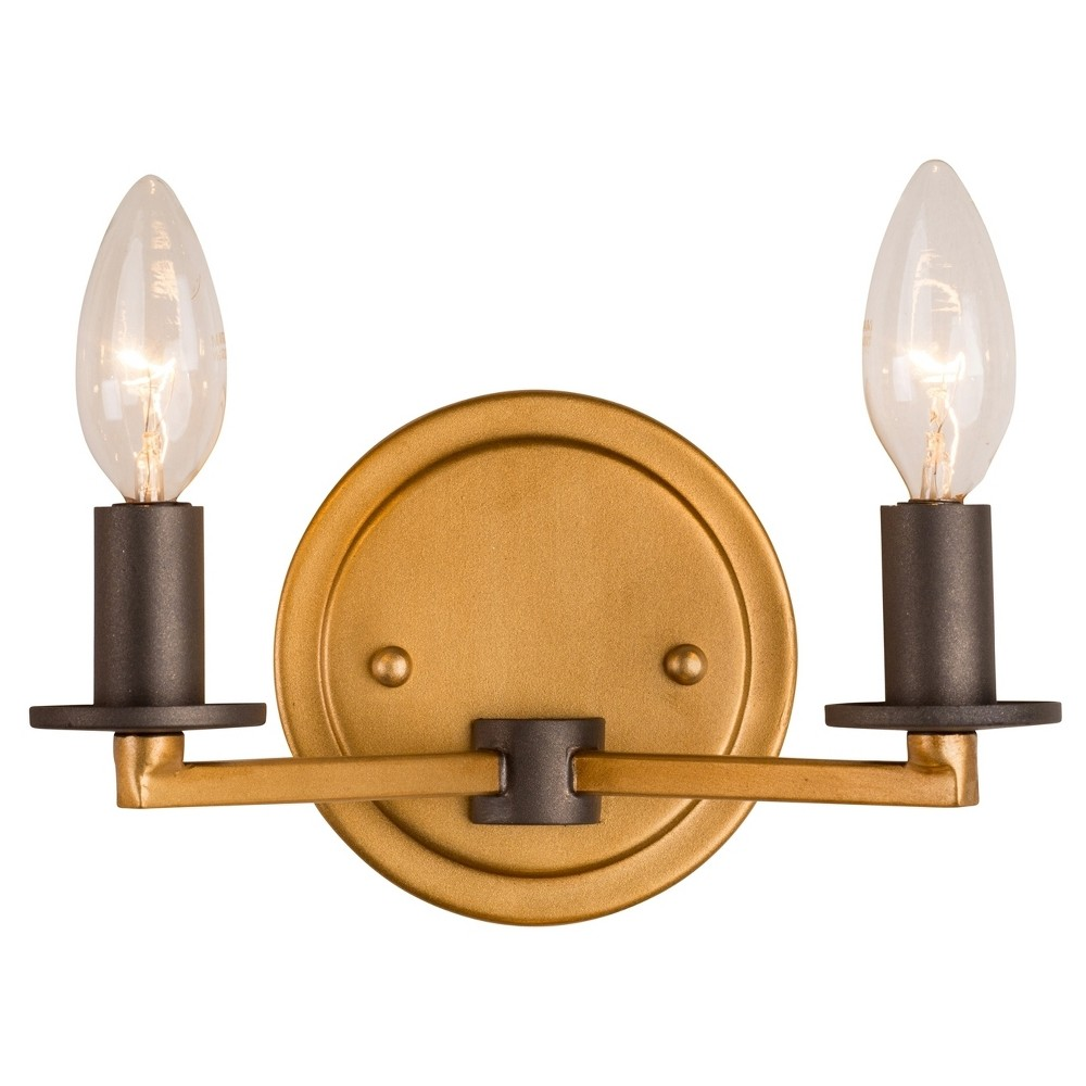 Image of Elwood 2-Light Bath Light - Antique Gold with Rustic Bronze - Rogue Décor