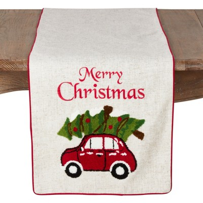 "72""x15"" Merry Christmas And Red Car Design Poly Blend Table Runner Ivory - Saro Lifestyle"