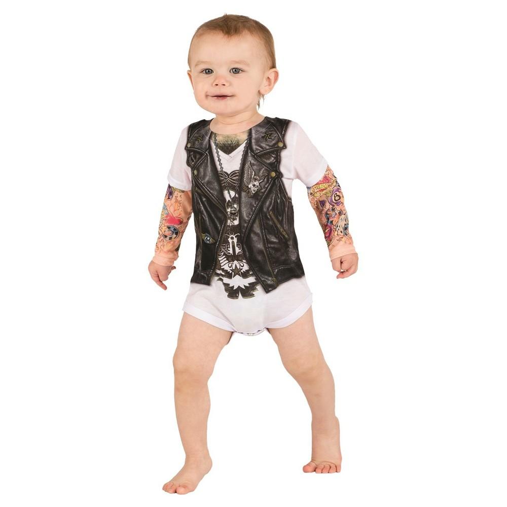Image of Halloween Baby Kids' Biker Romper Costume - 0-6 Months, Men's, Size: 0-6M, MultiColored