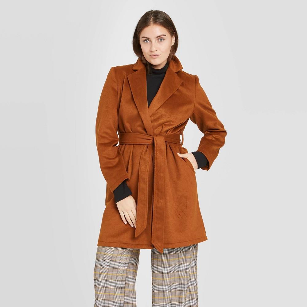 70s Jackets, Furs, Vests, Ponchos Womens Overcoat - A New Day Antique Wood XXL $40.00 AT vintagedancer.com