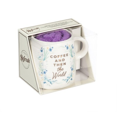 Cypress Home Ceramic Cup And Sock Gift Set, 12 Oz, Coffee And Then The World