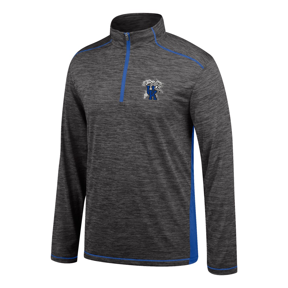 Kentucky Wildcats Men's Short Sleeve Venture Charcoal Spacedye 1/4 Zip Pullover Xxl, Black