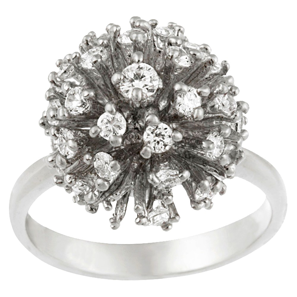 Sterling Silver Cubic Zirconium Disco Ball Ring - Silver (10), Size: 10.0