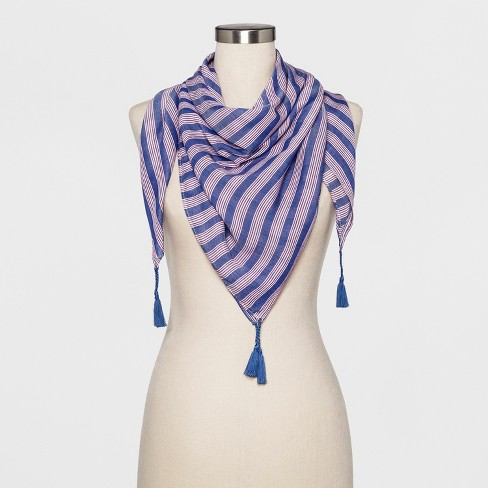 Women's Striped Large Square Scarf - A New Day™ Indigo - image 1 of 2