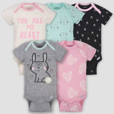 Gerber Baby Girls' 5pk Short Sleeve Bunny Bodysuits - Green/Pink/Gray Newborn