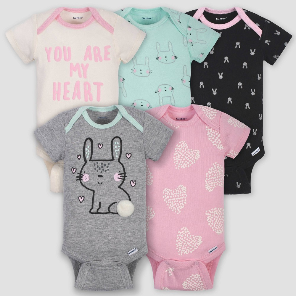 Image of petiteGerber Baby Girls' 5pk Short Sleeve Bunny Bodysuits - Green/Pink/Gray 0-3M, Girl's
