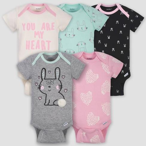 Gerber Baby Girls 5-Pack Organic Long-Sleeve Onesies Bodysuit