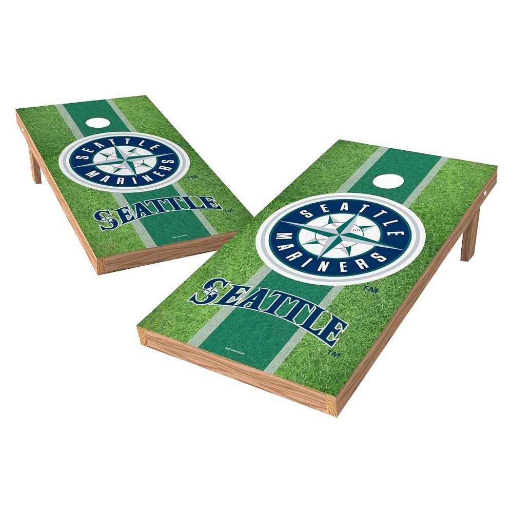 Seattle Mariners Wild Sports XL Shield Field Cornhole Bag Toss Set - 2x4 ft.