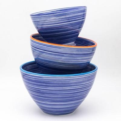 3pc Ceramic Raia Assorted Stacking Bowl Set Blue - Euro Ceramica