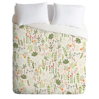 Full/Queen Iveta Abolina Goodness Floral Duvet Set Green - Deny Designs