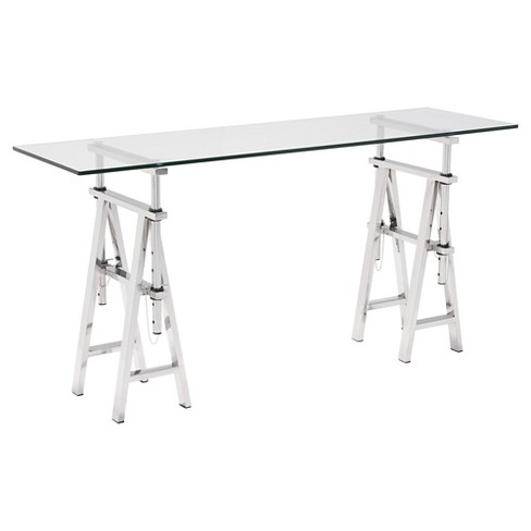 """Modern Tempered Glass and Stainless Steel Adjustable 60"""" Console Table - Clear - ZM Home - image 1 of 4"""