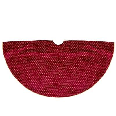 "Northlight 48"" Red and Gold Diamond Pattern Christmas Tree Skirt"