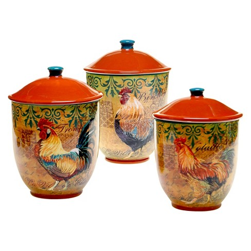 Certified International Rustic Rooster Canisters Set Of 3 Target