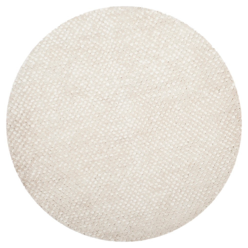 Snow White Solid Woven Round Area Rug 6' - Safavieh