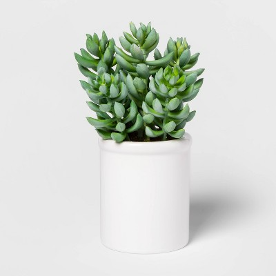 "8"" x 4"" Artificial Succulent in Ceramic Pot Green/White - Threshold™"