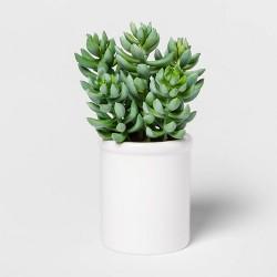 "8"" x 4"" Artificial Succulent in Ceramic Pot Green/White - Threshold™"