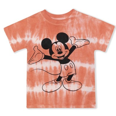 Disney Boy's Short Sleeve Mickey Mouse Tee Shirt, 100% Cotton, Tie Dye for Toddlers