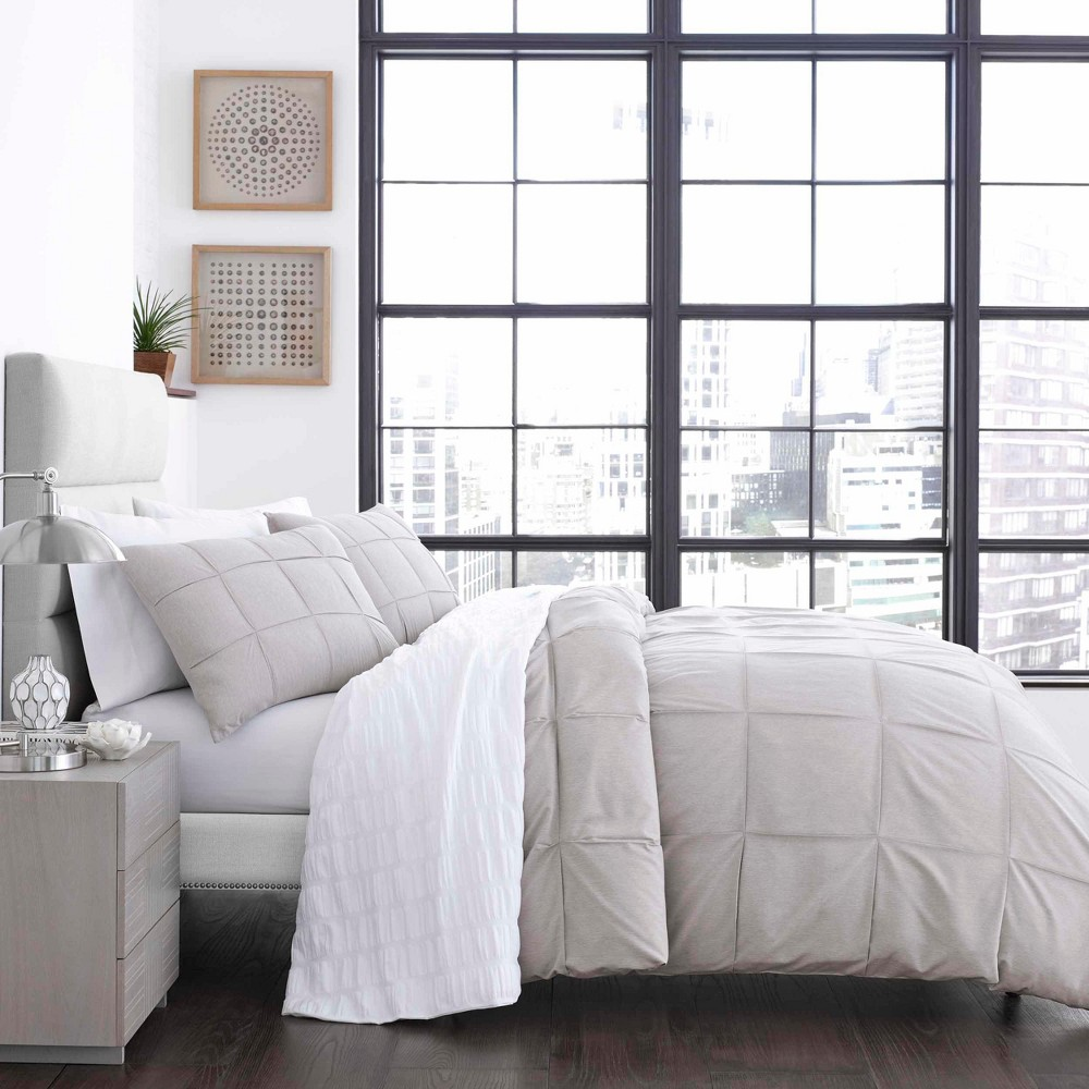 King Cosette Duvet Cover Set Gray - City Scene