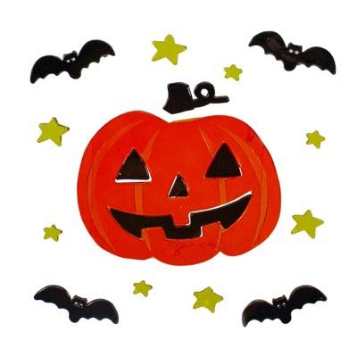 Northlight Jack-O-Lantern and Bat Halloween Gel Window Clings