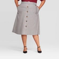 Women's Plus Size Plaid Button Front Skirt - Ava & Viv™ Blue
