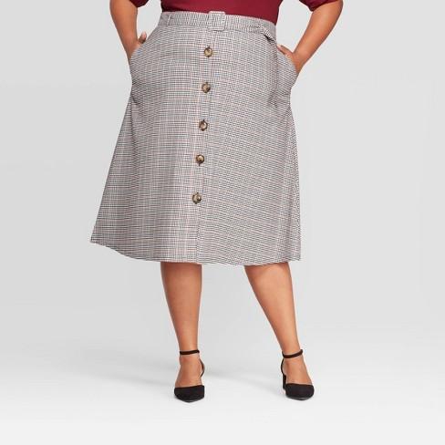 Women's Plus Size Plaid Button Front Skirt - Ava & Viv™ Blue - image 1 of 2