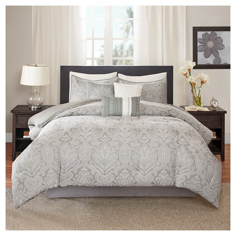 Devin Paisley Comforter Set (Queen) Gray   7pc : Target