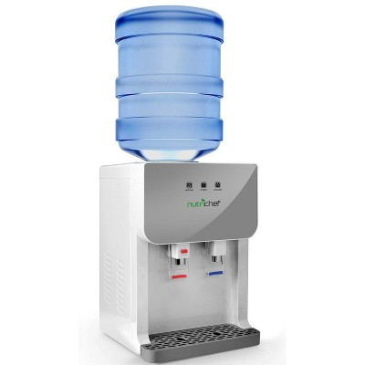 NutriChef PKTWC36SL Universal Top Loading Thermoelectric Hot & Cold Water Dispenser System w/ Child Safe Glass Front Panel, 43 to 203 Degrees