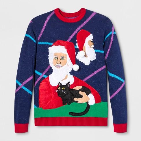 33 Degrees Mens Ugly Christmas Santa Portrait Studio Long Sleeve