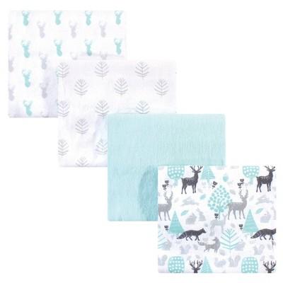 Hudson Baby Unisex Baby Cotton Flannel Receiving Blanket - Linocut Woodland One Size
