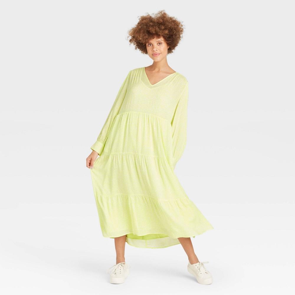 Women 39 S Long Sleeve Tiered Dress A New Day 8482 Light Green L