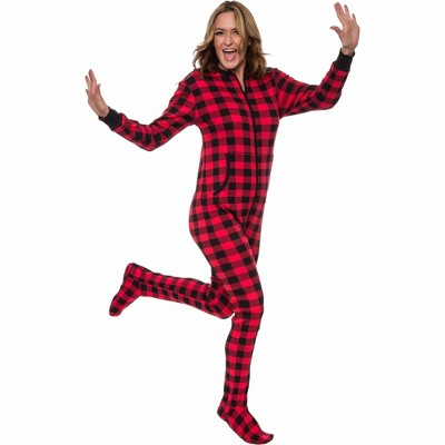 Silver Lilly - Slim Fit Women's Buffalo Plaid One Piece Footed Pajama Union Suit