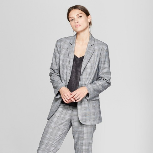 Women's Plaid Long Sleeve Oversized Slouchy Collared Blazer - Prologue™ Gray - image 1 of 3