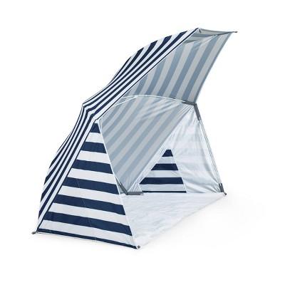 Picnic Time Brolly Beach Umbrella Stripe Tent - Navy/White