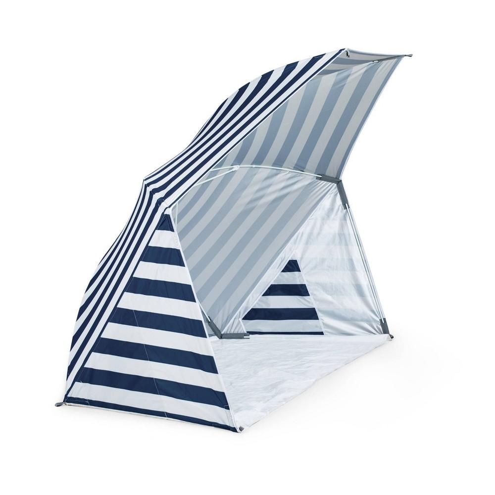 Image of Picnic Time Brolly Beach Umbrella Stripe Tent - Navy/White