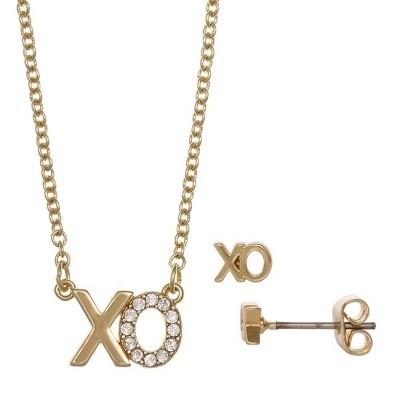"FAO Schwarz ""XO"" Pendant Necklace & Stud Earring Set"