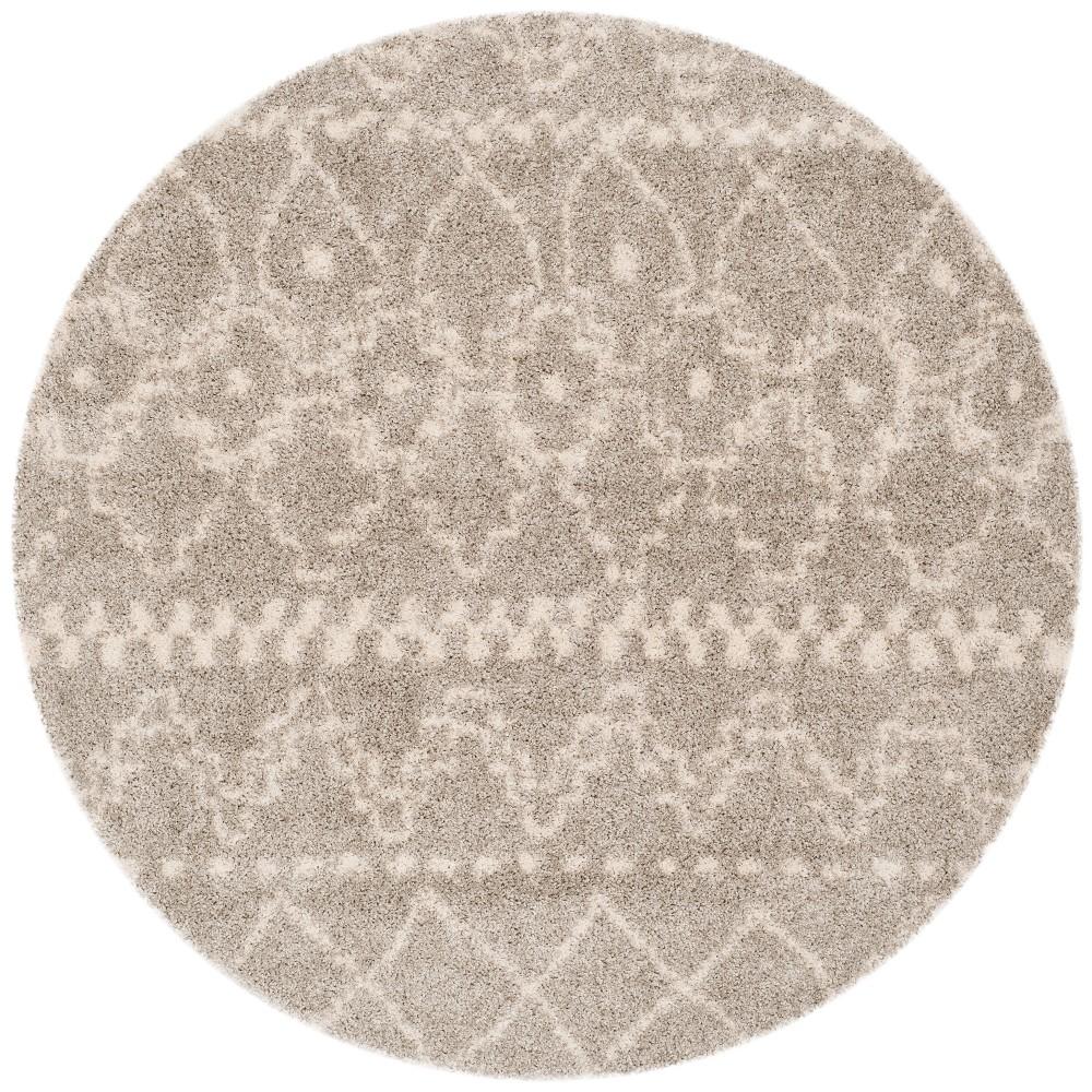 Gray/Ivory Geometric Loomed Round Area Rug 6'7 - Safavieh, White Gray