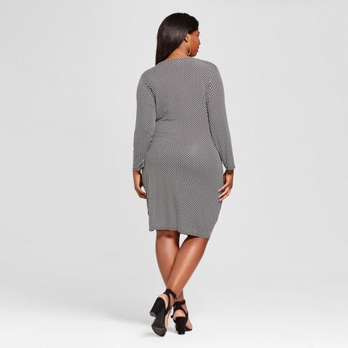 Women\'s Plus Size Knit Wrap Dress - Ava & Viv™ Black/White : Target