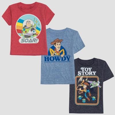 Toddler Boys' Pixar Toy Story 3pk Short Sleeve T-Shirt - Blue/Red 2T