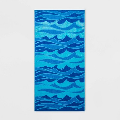Wild Waves Beach Towel XL Blue - Sun Squad™