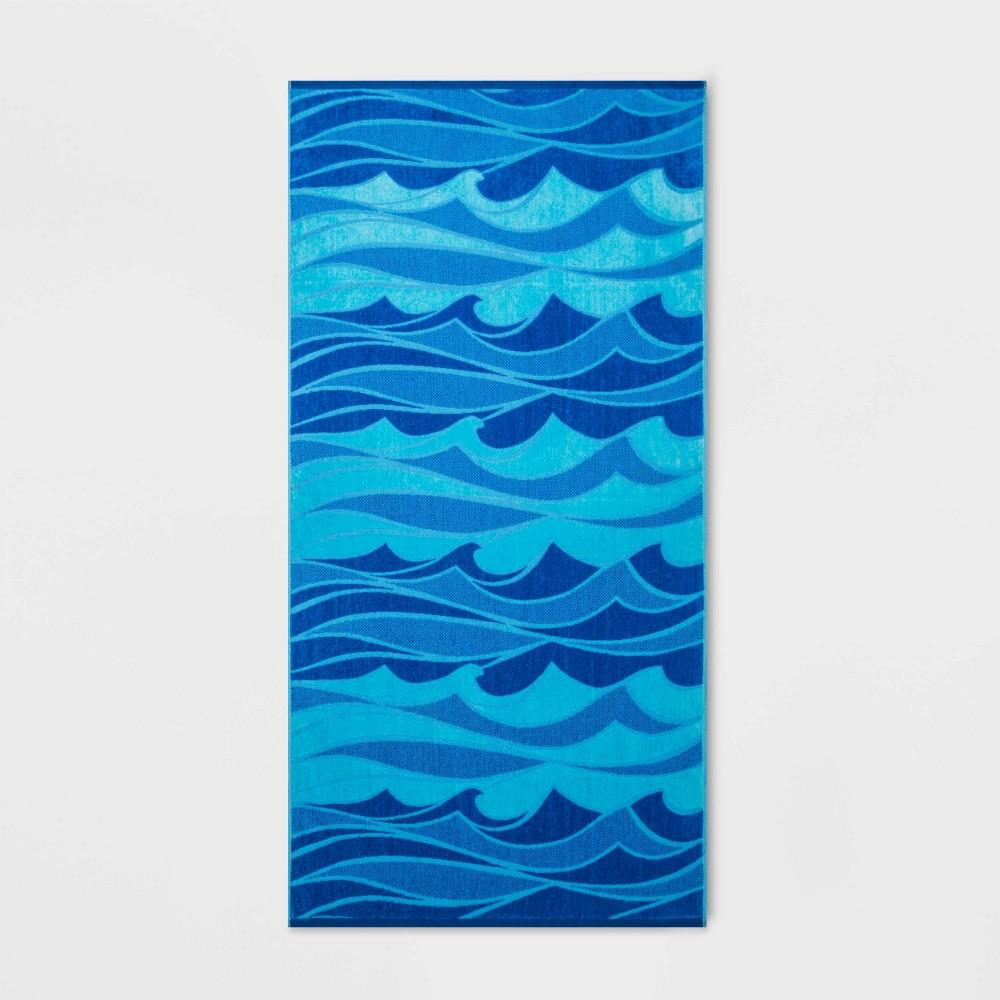 Image of Wild Waves Beach Towel XL Blue - Sun Squad