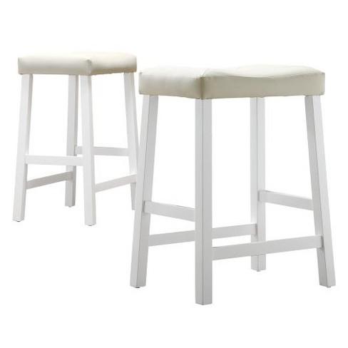Hahn Saddle Seat 24 Counter Stool White Set Of 2 Inspire Q