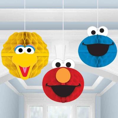 Birthday Express Sesame Street Honeycomb Decorations - 3 Pack