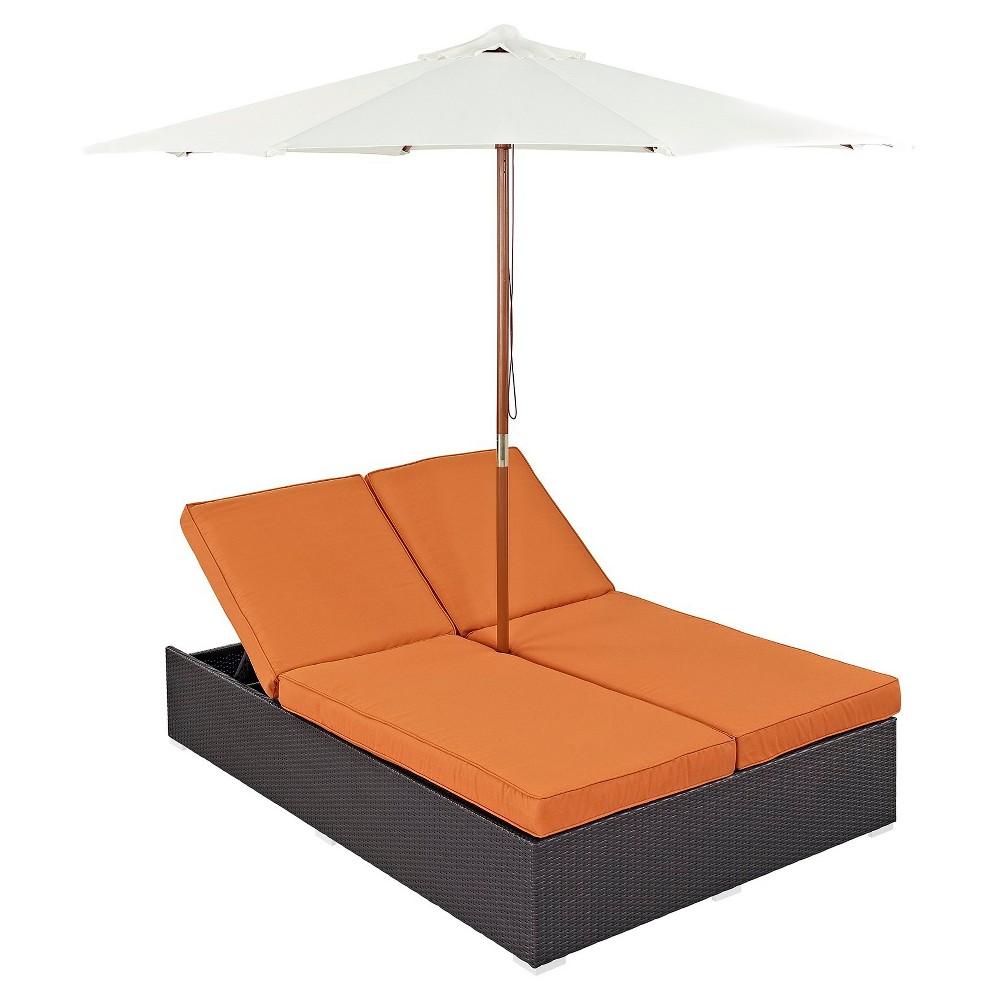 Convene Double Outdoor Patio Chaise in Espresso Orange - Modway