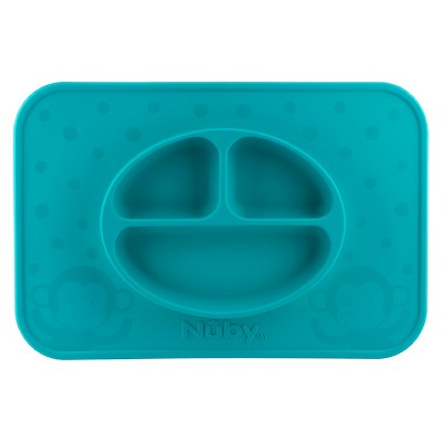 Nuby LG. Silicone Sectioned feeding placemat - Aqua