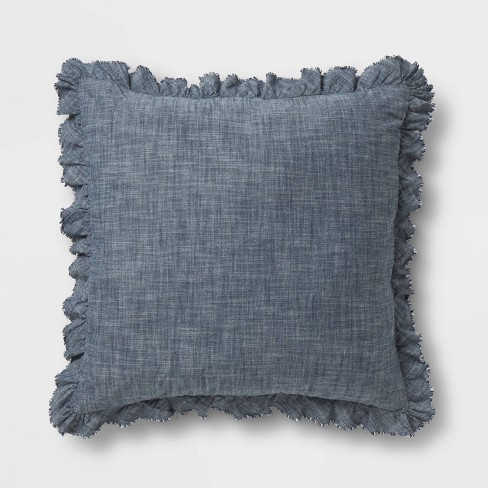 Chambray Euro Pillow Blue - Threshold™ - image 1 of 4